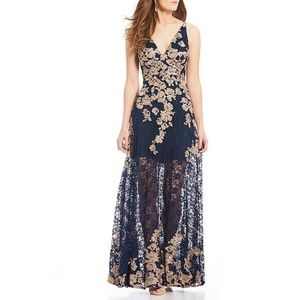Xscape Sleeveless Long Lace Embroidered Gown